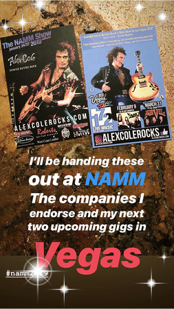 Alex Cole, promo for Las Vegas and NAMM 2019